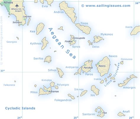sailing maps greece sailing map of the cyclades greece