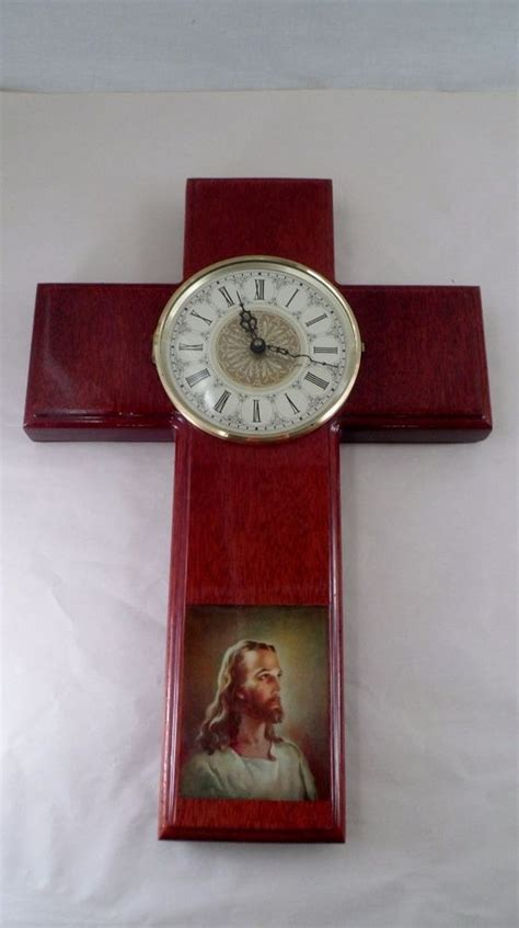 Handmade Wall Crosses - vintage handmade wooden holy cross quartz wall clock w