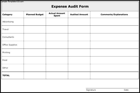 nice expense audit form template exle with category and