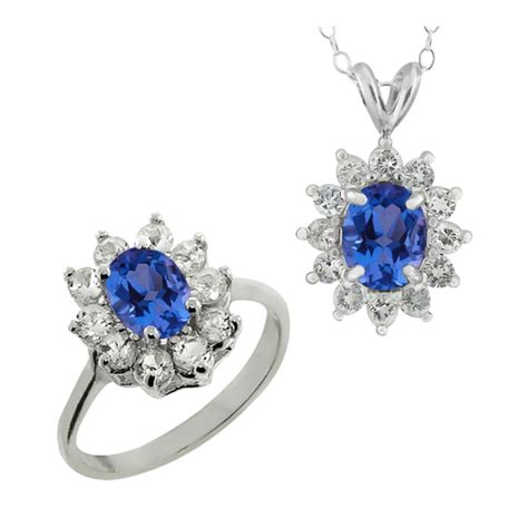 blue sapphire 4 35ct 4 35 ct mystic blue sapphire topaz silver ring pendant ebay