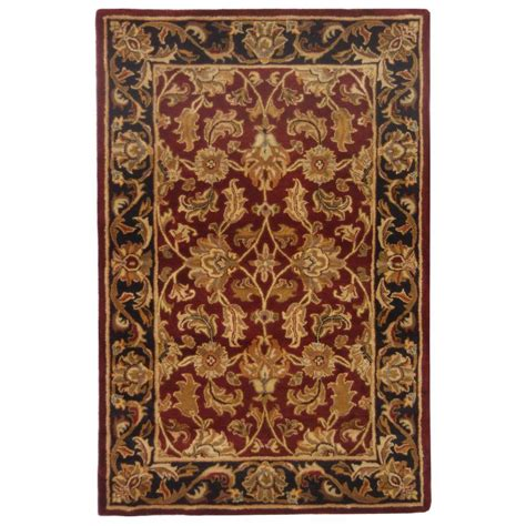 home depot wool area rugs safavieh heritage black 4 ft x 6 ft wool area rug hg628c 4 the home depot