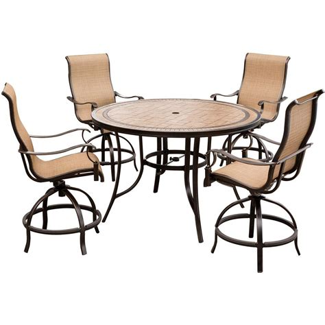 tile top bar table hanover monaco 5 piece aluminum outdoor high dining set