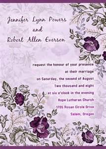 romantic purple floral printable wedding invitation cards