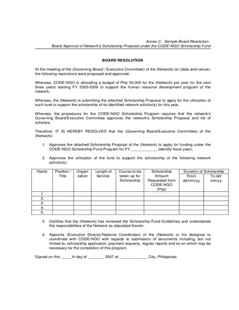 sle board resolution free download