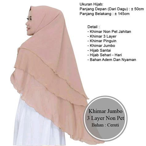 Khimar 3 Layer Pinguin Qinara ali khimar jumbo 3 layer khimar non pet pinguin