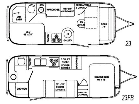 vintage airstream floor plans the vintage airstream flying cloud 23 foot travel trailer