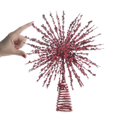 red glittered wire starburst tree topper trees and