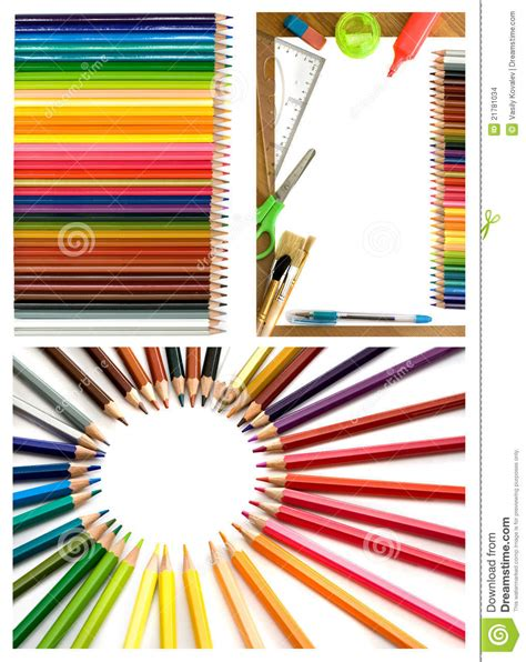 colorful office supplies colorful pencils and office supplies collage stock images