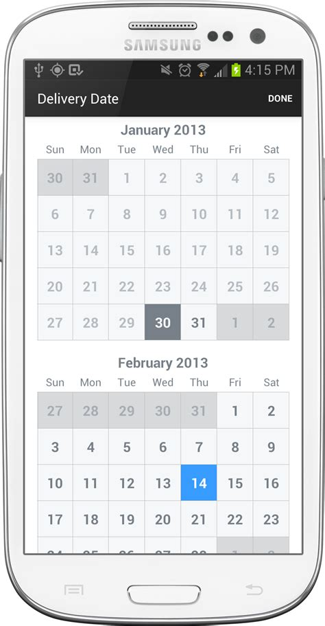 android layout finished event calendarview android calendar view stack overflow
