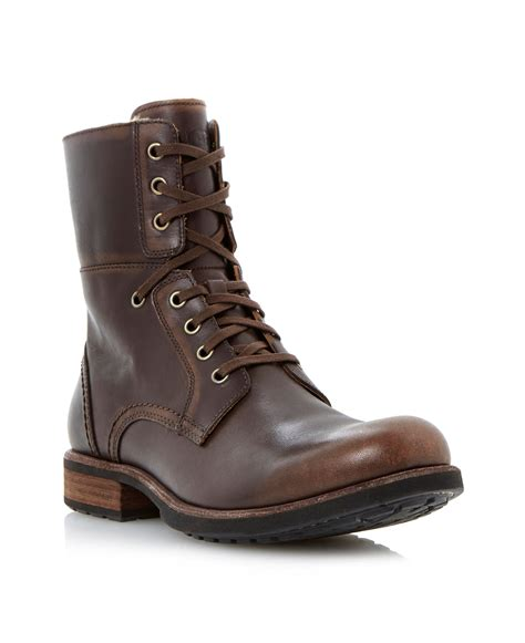 ugg lace up boots ugg larus lace up warm lined boots in brown for