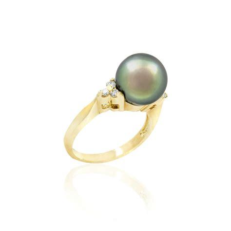 14k gold tahitian black pearl ring