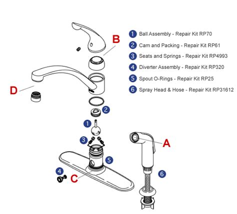 kitchen faucet diagram bath single handle exploded