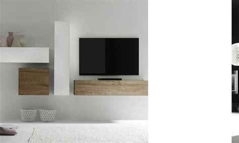 cevelle meuble tv bois et blanc pas cher