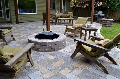 Paver Patio Pergola Fire Pit Seat Wall Lighting Contemporary Patio Portland By Lewis » Home Design 2017