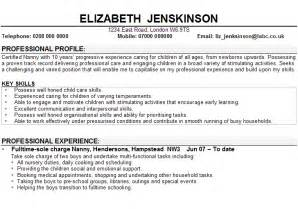child care and nanny cv sle