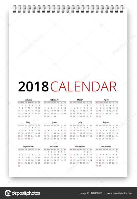 Calendrier 2018 Vector Calendrier 2018 Vector Image Vectorielle 140383050