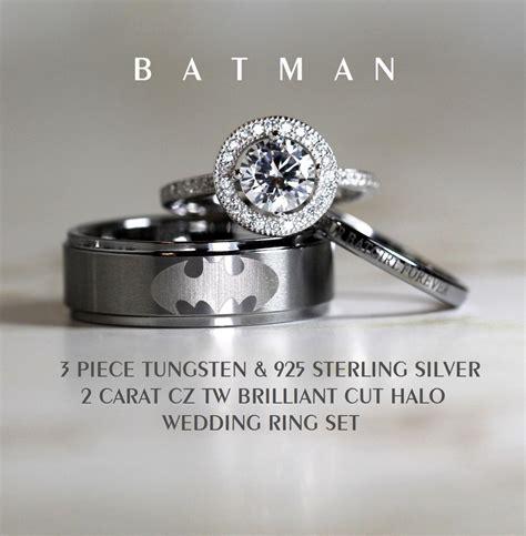 batman tungsten and 925 sterling silver 2 carat cz wedding