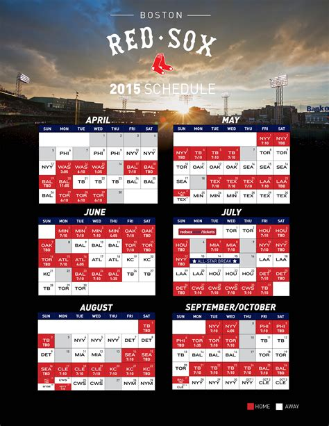 printable mlb schedule 2015 printable schedule boston red sox