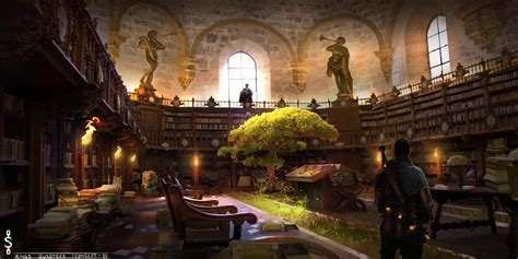 shackles kings quarters library tree statue books man hd