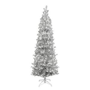 trim a home 174 6 5 pre lit silver pencil tree