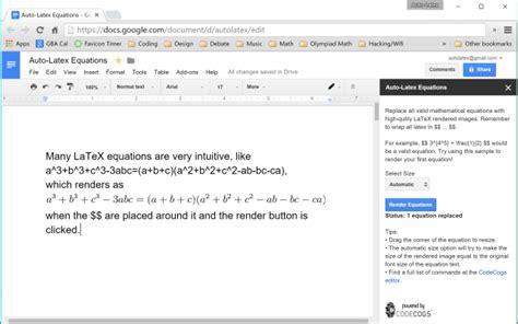 Auto Latex Equations Google Docs Add On 7 Does Docs