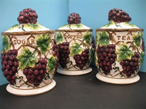 3 pcs 3d grape canister set kitchen decor vineyard wine