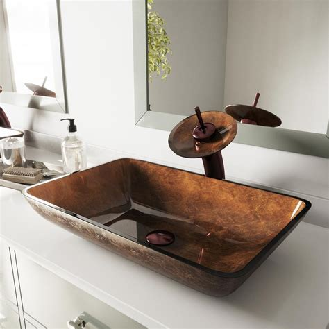 rectangular clear glass vessel sinks vigo rectangular glass vessel sink in russet glass with
