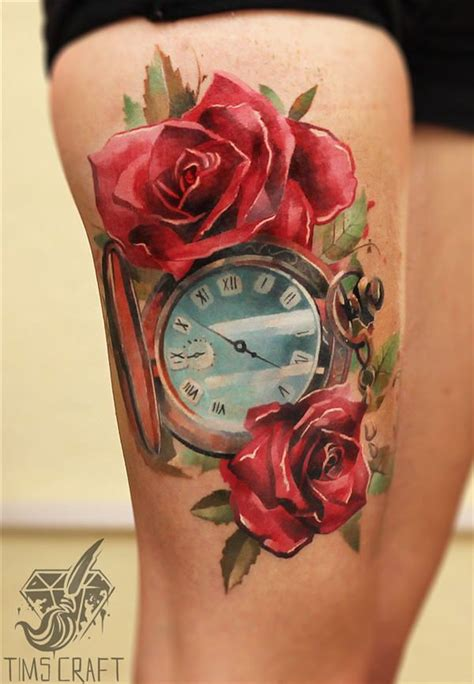what goes good with rose tattoos 35 lovely tattoos with meaning clock tattoos clock and