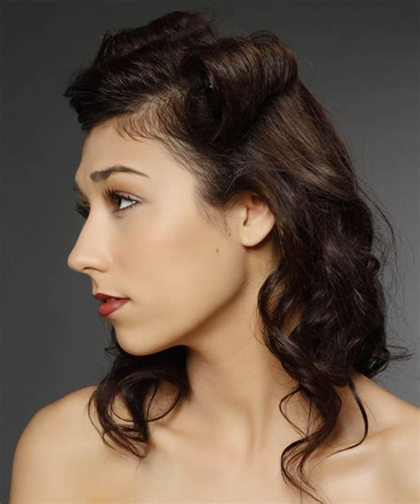 brunette up hairstyles updo medium curly casual half up hairstyle dark brunette