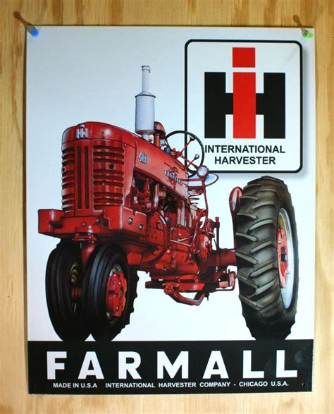 Harvester License Office by Mccormick Farmall Tin Sign Chicago Usa Tractor