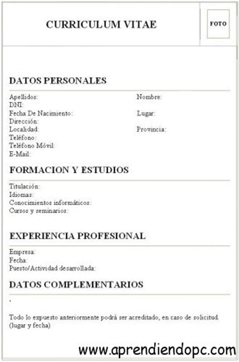 Curriculum España Modelo Curriculum Vitae Curriculum Vitae Que Lleva