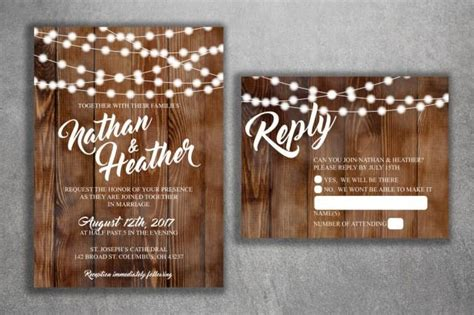 rustic country wedding invitations set printed cheap