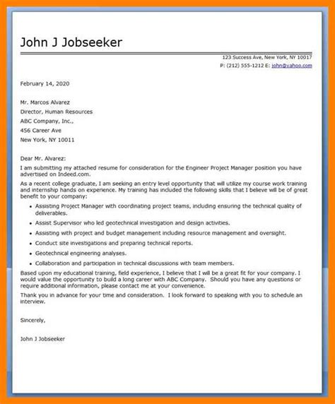 Mechanical Project Engineer Cover Letter by 6 Project Engineer Cover Letter Apply Letter