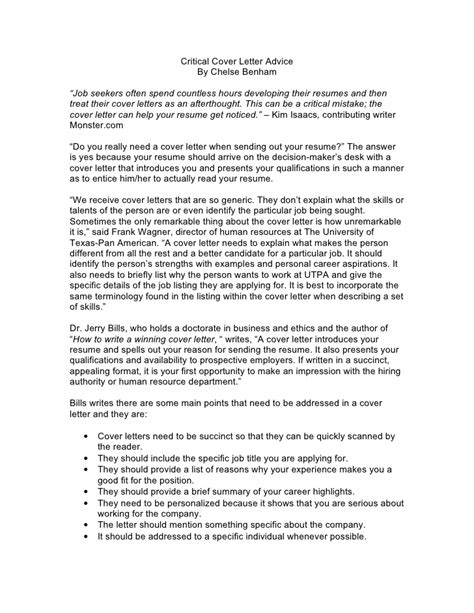 Cover Letter Advice by Critical Cover Letter Advice
