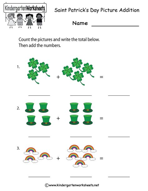 kindergarten activities st patrick s day free printable saint patrick s day addition worksheet for