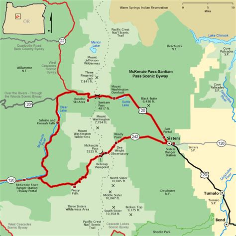 americas byways mckenzie pass santiam pass scenic byway map america s