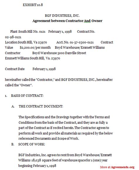 agreement between contractor and owner sle agreement