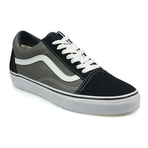 Vans Skool Black Grey vans skool black grey white canvas mens sneakers