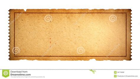 Old Blank Ticket Stock Photo Image Of Aged Fitness 36778998 Fashioned Ticket Template