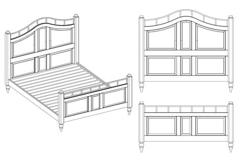 drawing of a bed 512 custom woodworking 187 archive 187 bed axonometric elevations cad line drawings