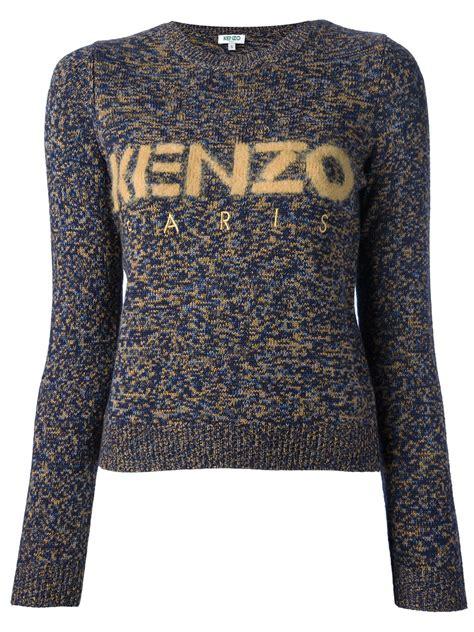 Kenzo Sweater Import 1 kenzo branded crew neck sweater in blue lyst