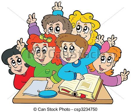 clipart scuola primaria vektor clipart bilden kinder gruppe