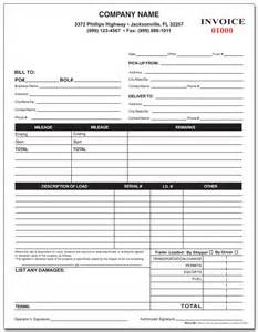 trucking invoice template custom printed trucking forms