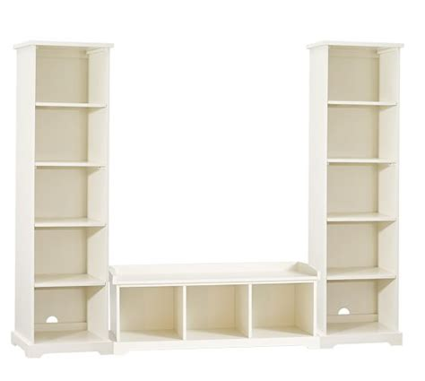bookshelf bench samantha 3 piece bench bookcase entryway set pottery barn