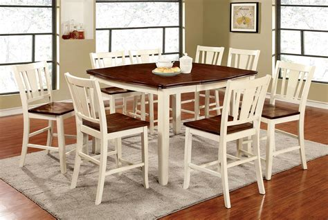 9 pcs dining table set 9 pcs cherry vintage white counter height dining table set