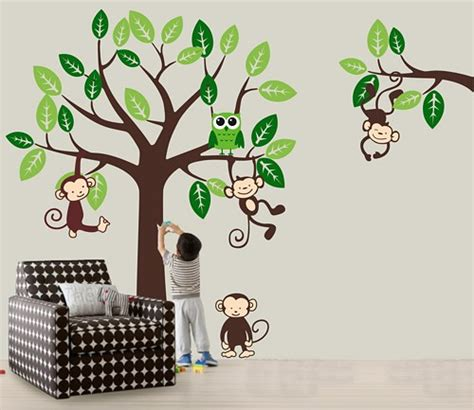 jungle tree wall stickers vinyl wall decal nursery jungle tree wall decals monkey
