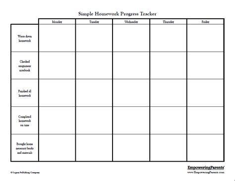 simple homework chart this chart is best for younger
