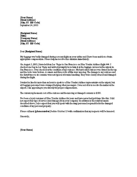 Complaint Letter To Airline For Lost Luggage Letters Office