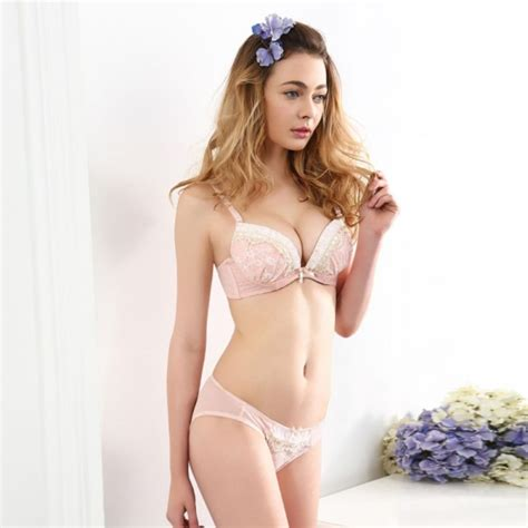 Bra Branded Set Sweet Blue With Pink Lace popular push up bra buy cheap push up bra lots