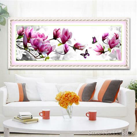 Magnolia Home Decor 5d Resin Painting Non Embroidery Home Decor Pink Magnolia Pattern